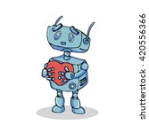 robot with heart   vector... | Shutterstock .eps vector #420556366