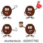 Coffee Bean Cartoon Mascot...
