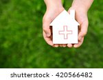 the person holds the lodge... | Shutterstock . vector #420566482