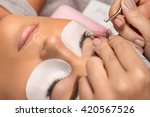 procedure of eyelashes...   Shutterstock . vector #420567526