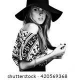 beautiful young girl in a... | Shutterstock . vector #420569368