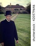 1800 Era Man With Manor House