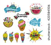 vector set of summer labels.... | Shutterstock .eps vector #420584506