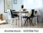modern room interior with table ... | Shutterstock . vector #420586762