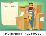 brutal handsome bearded mover... | Shutterstock .eps vector #420589816