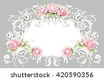 Vintage Frame With Roses And...