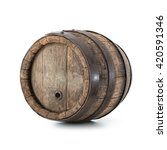 Old Oak Barrel Isolated On...
