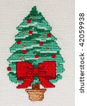cross stitch christmas card...   Shutterstock . vector #42059938