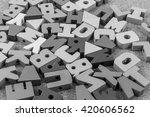 english alphabet wood  black ... | Shutterstock . vector #420606562