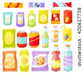 snacking products set  chips ... | Shutterstock .eps vector #420617758