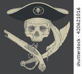 the pirate skull jolly roger.... | Shutterstock .eps vector #420621016