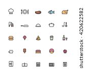 25 outline cooking icons color... | Shutterstock .eps vector #420622582