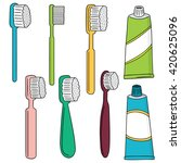 vector set of toothbrush and... | Shutterstock .eps vector #420625096