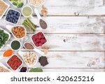healthy food called super foods ...   Shutterstock . vector #420625216