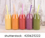 fruit smoothies variety in... | Shutterstock . vector #420625222