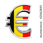 Silver Euro sign with Belgian flag isolated on white. Computer generated 3D photo rendering. - stock photo