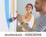 portrait of happy smiling young ... | Shutterstock . vector #420628546