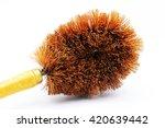 wooden toilet brush  on white...   Shutterstock . vector #420639442