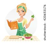 beautiful girl cook food with... | Shutterstock .eps vector #420653176