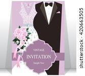 wedding invitation card  bride... | Shutterstock .eps vector #420663505