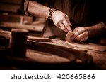 leather goods craftsman at work ... | Shutterstock . vector #420665866