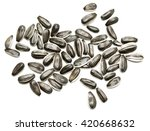 Gray Sunflower Seeds On A Whit...