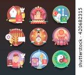 set of religion icons.... | Shutterstock .eps vector #420682315
