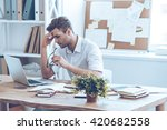 feeling tired. frustrated young ... | Shutterstock . vector #420682558
