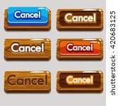 cartoon wood buttons cancel for ...