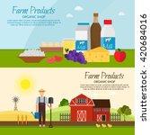 farm products vector farm set... | Shutterstock .eps vector #420684016
