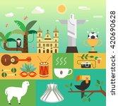 vector illustration with brazil ... | Shutterstock .eps vector #420690628