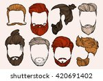 man hairstyle. set of hand... | Shutterstock .eps vector #420691402