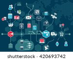 cloud computing concept with... | Shutterstock .eps vector #420693742