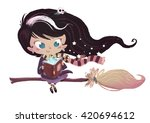 witch flying with broom   Shutterstock . vector #420694612