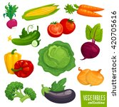 fresh healthy vegetables... | Shutterstock .eps vector #420705616