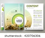 Brochure design template vector. Flyers report business infographic magazine poster. Abstract circle and city. Green presentation portfolio. Minimal cover book in a4 size layout. | Shutterstock vector #420706306