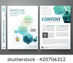 Brochure design template vector. Flyers annual report business magazine poster. Leaflet cover book portfolio presentation with abstract minimal blue hexagon and flat city. Layout in A4 size. | Shutterstock vector #420706312