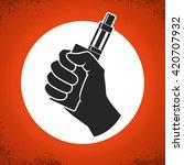 Vape Label. Vector Hand Holdin...