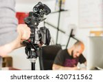 cameraman is filming a movie... | Shutterstock . vector #420711562