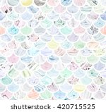 seamless scale pattern with... | Shutterstock . vector #420715525