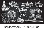 hand drawn set of asian food.... | Shutterstock .eps vector #420733105