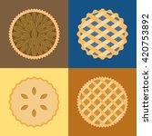 Pie Icon Set  Pecan  Blueberry  ...