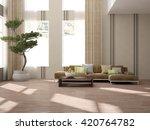 white interior design of living ... | Shutterstock . vector #420764782