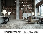 Stock photo luxury lobby interior with crystal lamp bing hall marble floor french sash mosaic tile 420767902