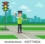 Traffic Policeman. Vector Flat...