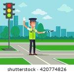 Traffic Policeman. Vector Flat...