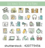 electronic icons set of sketch...   Shutterstock .eps vector #420775456