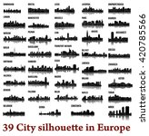 set of 39 city silhouette in... | Shutterstock .eps vector #420785566