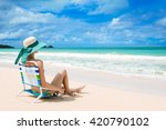 young woman relaxing on a... | Shutterstock . vector #420790102