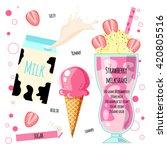recipe of milkshake  smoothie... | Shutterstock .eps vector #420805516